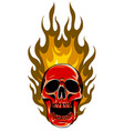 skull in fire tattoo design hand drawn vector image vector image