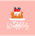 stack round waffles with strawberry and ice vector image