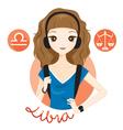 Woman With Libra Zodiac Sign vector image