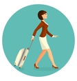 Woman with suitcase is going in airport terminal vector image vector image