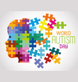 world autism day and head puzzle pieces vector image vector image