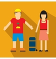Couple of tourist vector image