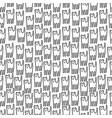 funny kitten hand drawn seamless pattern black vector image