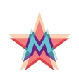 Five-point star logo with letter M vector image