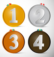 Medals Set First Second Third and Fourth Place vector image