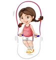a chubby girl skipping the rope vector image vector image