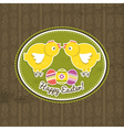 background with easter eggs and two chick vector image vector image