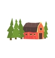 Barn And Fir Trees Colorful Farm Sticker vector image vector image