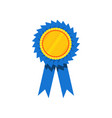 blue ribbon award blank golden rosette prize for vector image