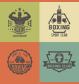 boxing martial arts colored vintage labels vector image vector image