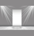 Business roll up banner in room with spotlights