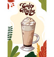 cafe mocha cup hot drink for christmas menu vector image vector image