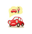cartoon car character worryed emotions vector image vector image