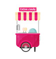 carts retail kiosk on wheels cotton candy flat vector image vector image