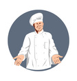 chef cook baker holding with arms to side vector image vector image