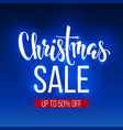 christmas sale inscription on blue background vector image