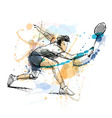 Colored hand sketch man playing badminton vector image