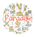 colorful icons in summer paradise theme vector image