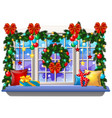 cozy interior home window with decoraions and vector image