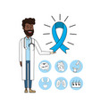 doctor with stethoscope and ribbon mens health vector image