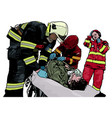 firefighter and rescuers vector image vector image