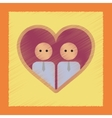 flat shading style icon gays in the heart vector image