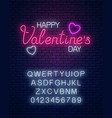 glowing neon happy valentines day text with heart vector image