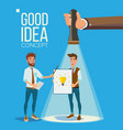 good idea concept smiling office workers vector image vector image