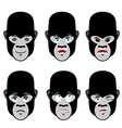 Gorilla emotions Set expressions avatar monkey vector image vector image