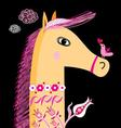 graphic portrait of a horse and a bird in love vector image vector image
