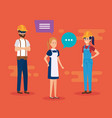 group of workers talking characters vector image