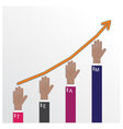 hands of businessman with graph increase vector image vector image