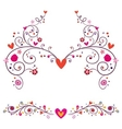 heart flowers elements ornament vector image vector image