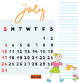 july 2016 kids vector image vector image