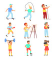 kids hobbies boys and girls with objects vector image