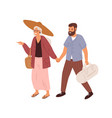 love couple people holding hands and walking vector image vector image
