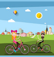 man and woman on bicycle with city ark on vector image vector image