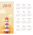 Marine calendar 2015 year with lighthouse vector image vector image