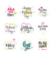 mothers day set creative logos isolated holiday vector image vector image