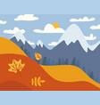 mountain landscape autumn fields landscape vector image