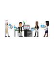 multiethnic business staff working in office vector image vector image