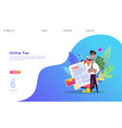online tax payment people filling tax form vector image vector image
