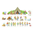 people camping and their equipment set vector image vector image