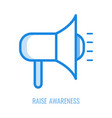 raise awareness line icon - blue outline symbol of vector image vector image
