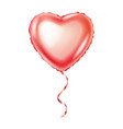 realistic pink balloon in form heart isolated vector image vector image