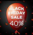 red balloon with text black friday sale forty vector image vector image
