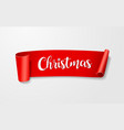 red paper roll label merry christmas concept vector image