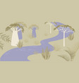 savannah landscape with river and rare trees vector image