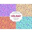 set four celebration holiday seamless patterns vector image