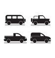 set of black car icons - stock vector image